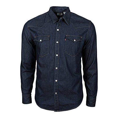Levi\'s Herren Jeans Hemd L/S Barstow Western Shirt, Blau (Dark Indigo - Flat Finish), X-Small