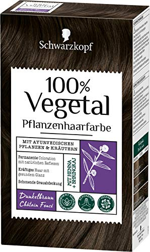 SCHWARZKOPF 100% VEGETAL Coloration Dunkelbraun Stufe 3, 3er Pack (3 x 80 ml)