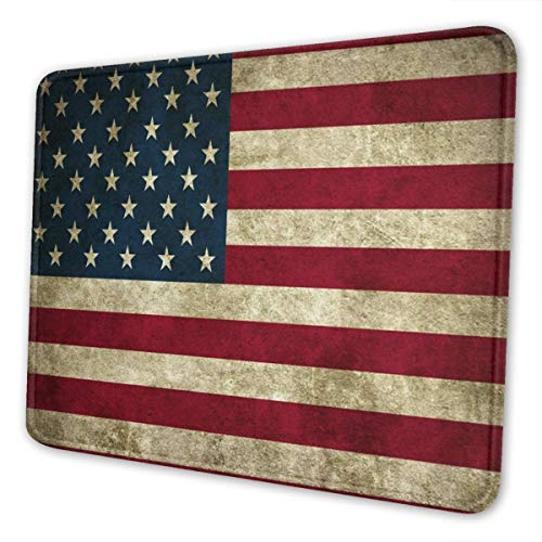 American Flag Mouse Pad with Stitched Edge, Retro Vintage USA Flags Customized Mousepad Non-Slip Rubber Large Gaming Mouse Pad for Laptop, Computer & Office, 11.8 X 9.8 X 0.12Inch