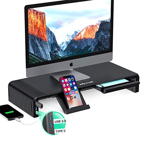 Adjustable Monitor Stand, Jelly Comb Computer Monitors Riser with USB 3.0 &Type C Ports, Support 24W Fast Charging and Transfer Data, for Desktop, Laptop, Computer, MacBook, Notebook, PC (Black)