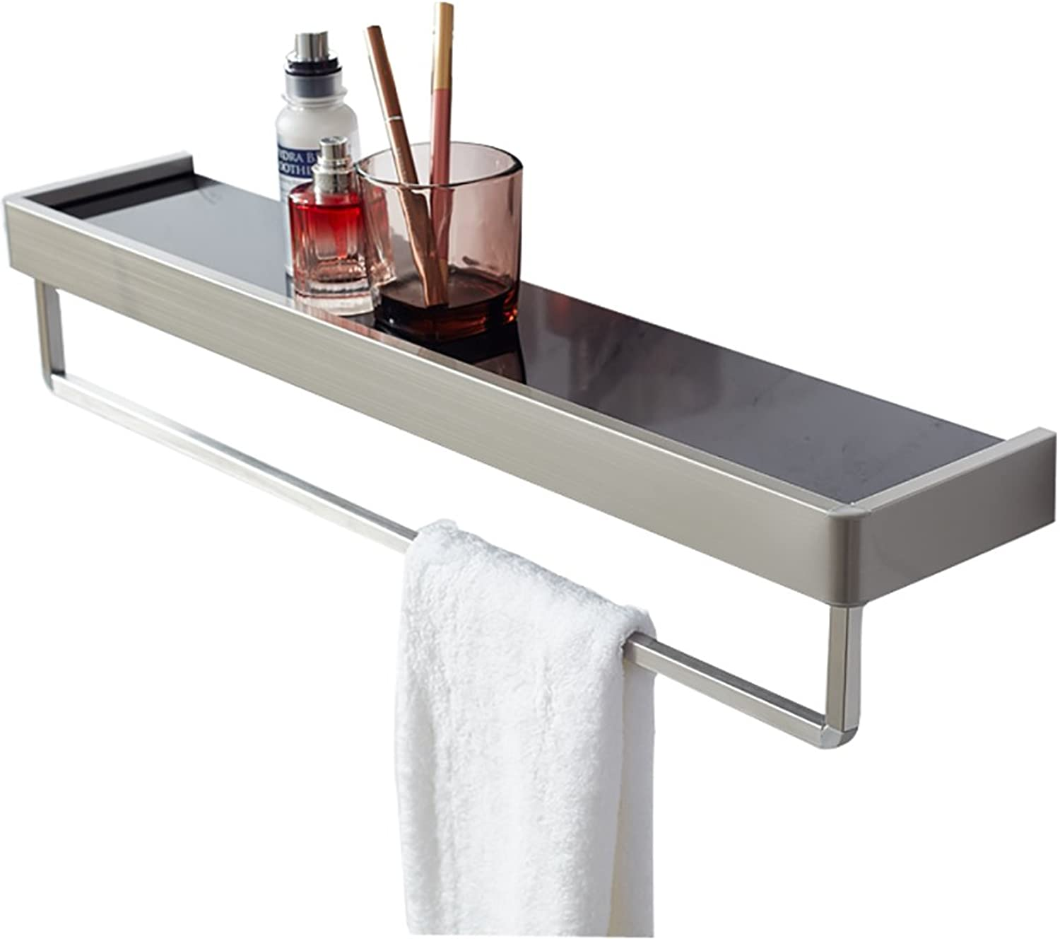 Bathroom Mirror Front Shelf Single Layer Glass 304 Stainless Steel Perforated Bathroom washbasin Wall (color   60  12CM)