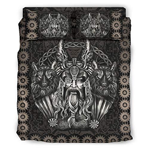 BTJC88 Viking Odin and His Wolf - Juego de ropa de cama (4 unidades, 203 x 230 cm), color blanco