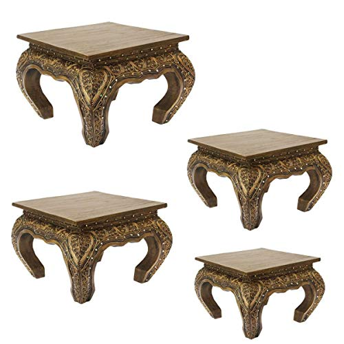 Oriental Galerie Opiumtisch Tisch Beistelltisch Massiv Holz Couchtisch Nachttisch Shishatisch, Farbe:Gold Antik, Größe:25x25x20cm (LxBxH)