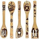 Ettzlo Cuillères en bambou biologique, ustensiles de service en bois brûlé, spatules sculptées, ustensiles de cuisine, excellent cadeau pour les chefs et les gourmandises Motif magique