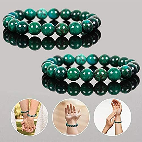 Diabetes Relief Chrysocolla Bracelet, Unisex Handcrafted 8mm Natural Chrysocolla Crystal Energy Beaded Bracelets Relaxation Gift (2 Pcs)