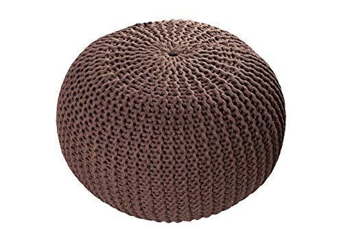 Invicta Interior Design Strick Pouf LEEDS Dark Coffee 50cm Hocker Baumwolle in Handarbeit