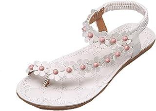 BIBOKAOKE Elegante teenslippers voor dames, ademende open teen, casual sandalen, bloemensandalen, strandsandalen, outdoors...