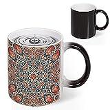 Heat Sensitive Color Changing Coffee Mug, Floral Ornate Pattern Cultural Folk Persian Middle Eastern Magic Milk Tea Cup for Men Women Funny Ceramic Mugs Christmas Gifts, 11 Oz