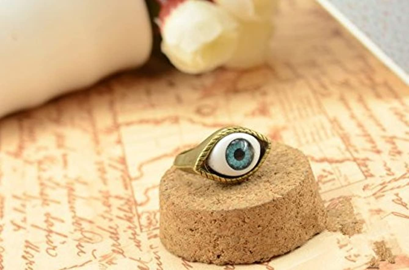 通行人ビット計り知れないJicorzo - ヨーロッパと米国のゴシックパンク風のレトロな青と茶色の鬼の目のリング宝石の1pcsを誇張[青]