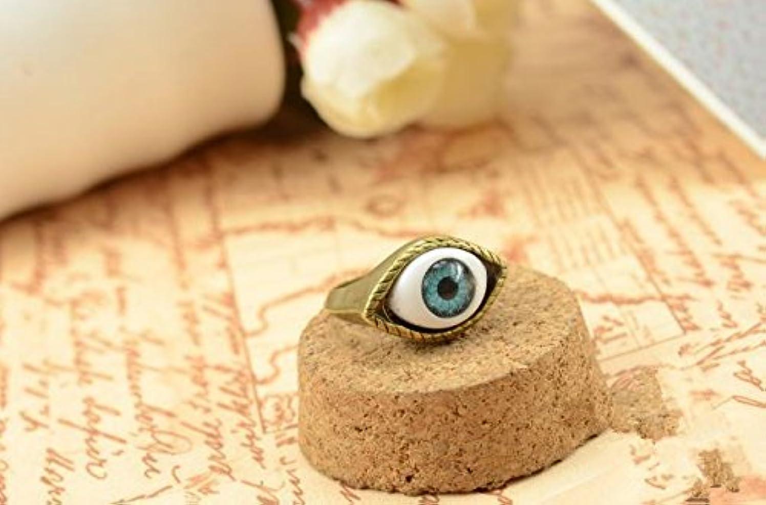 訪問ラジカルJicorzo - ヨーロッパと米国のゴシックパンク風のレトロな青と茶色の鬼の目のリング宝石の1pcsを誇張[青]