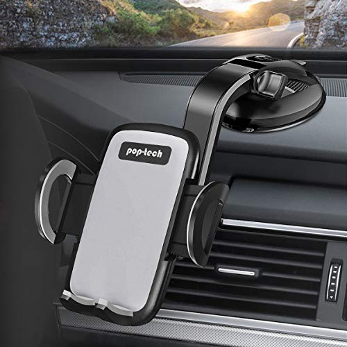 Car Dashboard Phone Holder, pop-tech Car Dash Phone Mount with Strong Sticky Suction Cup 360 Rotation Hands-Free Mobile Phone Clamp for Socket iPhone Samsung Galaxy Pixel Collapsible Grip