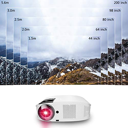 HD Projector - Artlii 2020 Upgraded 5500 LUX Movie Projector, 200' HD Home Theater Projector, 1080P Support Video Projector with 2 USB HiFi Stereo for Remote Learning, Movies, Sports and Video Games