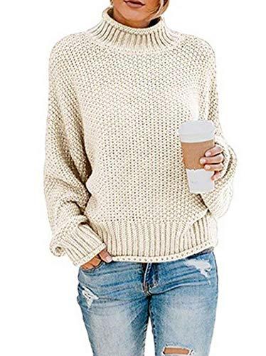 ZIYYOOHY Damen Elegant Rollkragenpullover Langarm Beiläufige Grobstrickpullover Strickpullover Sweatshirts (L, Weiß)