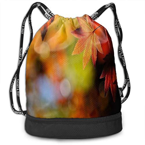Sport Unisex Bundle Drawstring Backpack Best Autumn Leaves Travel Durable Large Space Gym Sack Stylish Waterproof