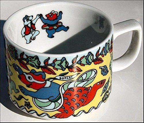 BOPLA Porzellan Evoulution, 1 Kaffeetasse Teddy (Grundfarbe gelb), 0,18l TASSE - TAZZA - CUP - TAZA 0,18 l, 1,8 dl, 6-1/4 fl. oz. platzsparend stapelbar, mircowellengeeignet, kältebeständig, ofenfest, spülmaschinenfest, gastronomiebewährtes Hartporzellan Schweizer Qualität, Dekor von namhaften Künstlern gestaltet. Begehrtes Sammlerporzellan. Alles individuell und einzeln kombinierbar und es passt immer in allen Farben zusammen