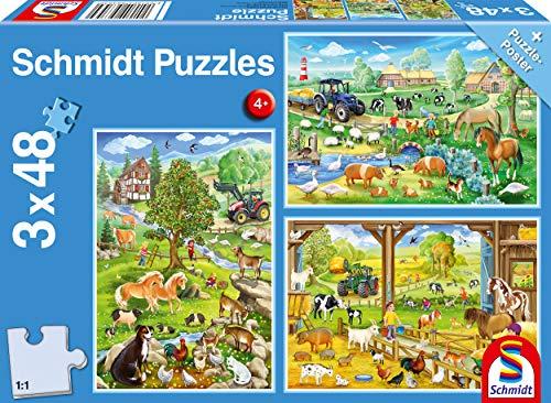 Schmidt Spiele- Fattoria, Puzzle per Bambini, 3 x 48 Pezzi, Multicolore, 56353