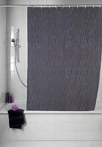 WENKO Rideau de douche Deluxe gris - lavable, avec pierres brillantes, Polyester, 180 x 200 cm, Gris foncé