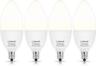 LOHAS Smart LED Light Bulb E12 Candelabra Base, Dimmable Smart Daylight Bulb 5000K, WiFi LED Bulbs 50w Equivalent Compatible with Alexa Google Assistant Siri for Home Ceiling Fan Lights Bulbs, 4 Pack