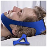 Anti Snoring Chin Strap For Better Sleep Snoring Solution Instant Stop Snore Remedies Aids Snoring Relief Devices Anti Snore Jaw supporter by AirPromise Adjustable size Triangular Design (Blue)