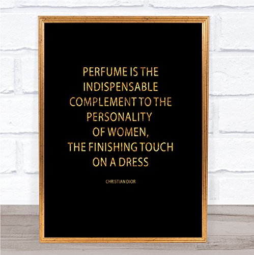 Christian Dior Parfum Quote Print Zwart & Goud Muurfoto Framed Black Medium