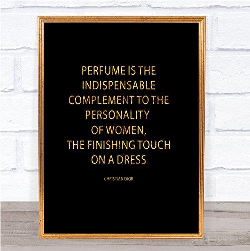 Christian Dior Parfum Quote Print Zwart & Goud Muurfoto Large A3