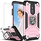 YmhxcY Phone Case Compatible with LG Stylo 5,LG Stylo 5 Plus/LG Stylo 5V/LG Stylo 5X Case with HD Screen Protector,Armor Grade with Rotating Holder Kickstand Case for LG Stylo 5-KK Rose Gold