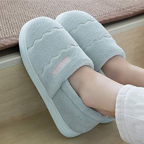 Zapatillas Casa Hombre Mujer Invierno Plush Slippers Woman Coral Fleece Slippers For Women Wave Pattern Home Slippers Soft Comfy Non Slip Indoor Shoes-Light_Green_4.5