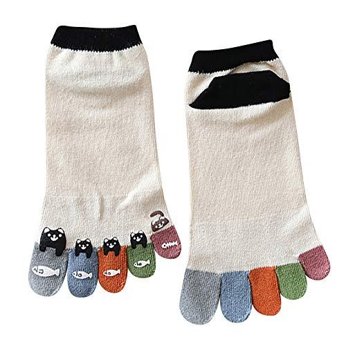 TPulling Bunte Socken Damen Witzige Socken Weihnachten Deko Schneemann Rentier Frauen Bunte Zehensocken fünf Finger Socken Baumwolle lustige Socken