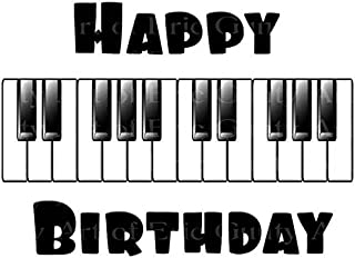 1/4 Sheet - Happy Birthday Music Piano Band - Edible Cake/Cupcake Party Topper - D22841