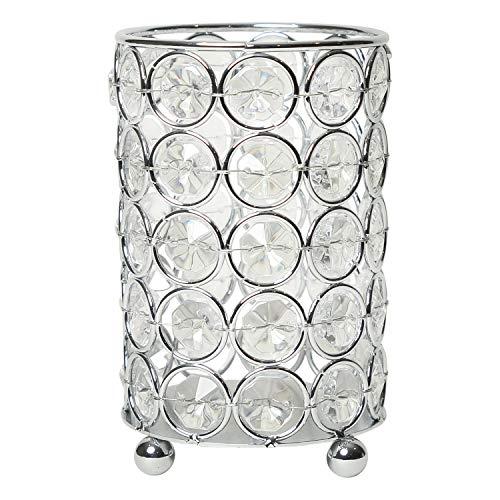 Elegant Designs Elipse Crystal Flower - Portavelas Decorativo, diseño de Flores de Vidrio, 5 Pulgadas, Chapado en Cromo