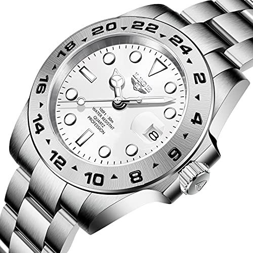 Reloj LIGE para Hombre, Resistente al Agua Vestido Clásico Analógico Cuarzo Fecha Luminoso Acero Inoxidable Reloj de Pulsera Plateado