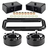3'F + 2'R Leveling Lift Kit for 2005-2020 Frontier, 3' Front Strut Spacers and 2' Black Leveling Lift Block Kit Extended Square U-Bolts Compatible with 2005-2020 Frontier 2WD/4WD 2X2/4X4