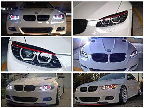 iJDMTOY (4) 7000K Xenon White DTM-Style Square Bottom LED Angel Eyes Halo Rings Kit Compatible With BMW 1 2 3 4 5 Series Headlight Retrofit