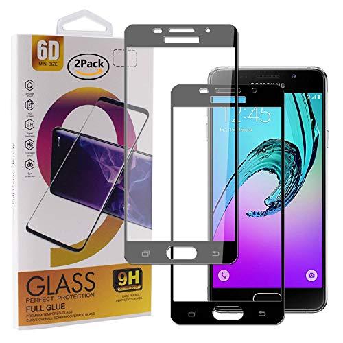 Guran [2 Paquete Protector de Pantalla para Samsung Galaxy A3 2016 A310 Smartphone Cobertura Completa Protección 9H Dureza Alta Definicion Vidrio Templado Película - Negro