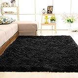 SANMU ラグカーペット 黒 2畳 じゅうたん カーペット 120×160cm ラグマット洗える 滑り止め付き 夏 冬 13色選べる センターラグ 床暖房 冷房対応 シャギーラグ ブラック