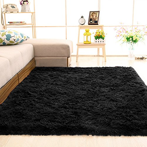 gdmgdr Ultra Soft and Fluffy Nursery Rugs 4cm High Pile Area Rugs for Bedroom and Living Room 4' x 5.3', Black
