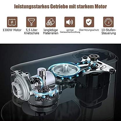 COSTWAY-1300W-Elektrischer-Standmixer-Ruehrmaschine-55L-Kuechenmaschine-inkl-Schneebesen-Knethaken-Ruehrbesen-und-Spritzschutz-10-stufigen-Geschwindigkeit