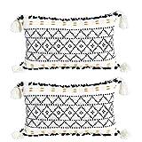 VOFANK Juego de 2 fundas de cojín decorativas bohemias con borlas, de algodón, para sofá, dormitorio, salón (blanco y negro, 30 x 50 cm)