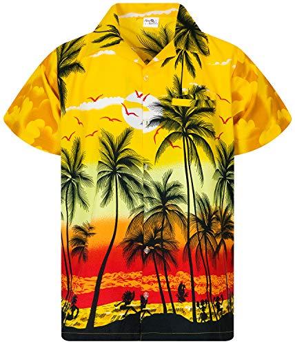 Funky Camisa Hawaiana, Manga Corta, Beach, Amarillo, XS