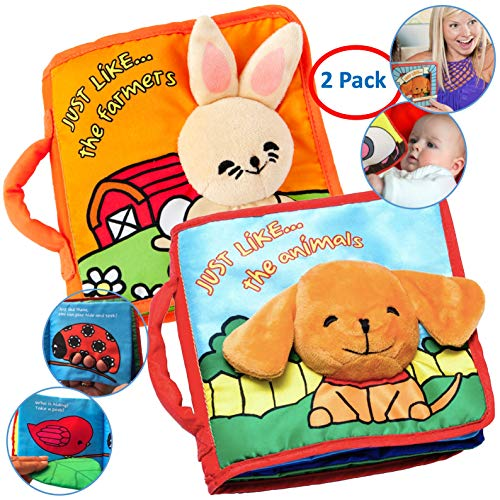 Premium Soft Baby Books First Year, Cloth Book Bunny & Puppy with...