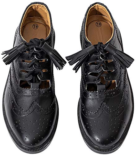 Hamilton Kilts Ghillie Brogues Leder Scottish Kilt Schuhe, Schwarz (UK 11 / EU 45)
