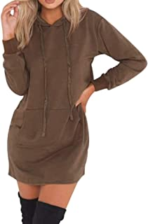 iFOMO Womens Girls Autumn Winter Solid Long Sleeve Hooded Hoodies Ladies Pullover Jumper Sweatshirt