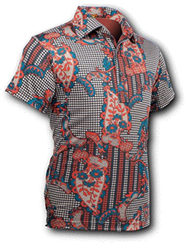Chenaski Polo Hemd, ornamentical red, Retro 70er, Polohemd Size M