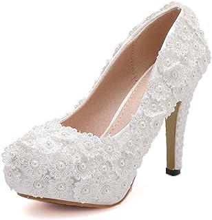 c3deb89e65116e DCYU Talon Haut des Femmes de la Bouche Peu Profonde Chaussures de Mariage  Rond de Dentelle