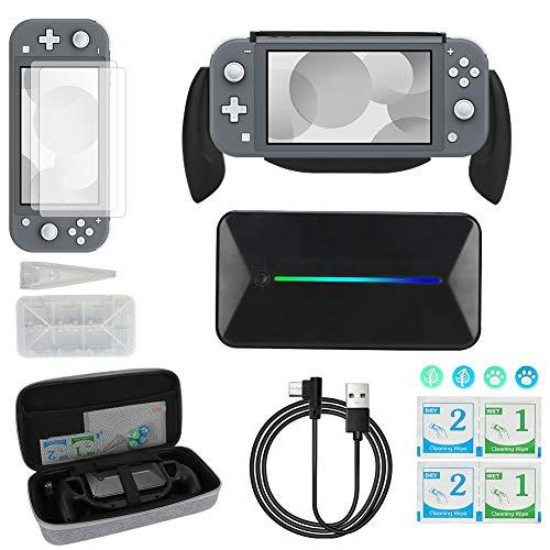 Brynnl Zubehörpaket für Nintendo Switch Lite - Eine Reisetasche mit großer Kapazität, Handgriffhalter, 6000-mAh-Powerbank, Displayschutzfolie und mehr, Geschenkverpackung, Grau