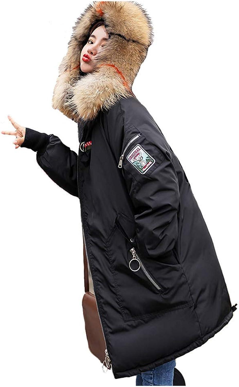 WOMA Women's Down Jacket Faux Fur Trim Hooded Winter Warm Parkas Long Coat