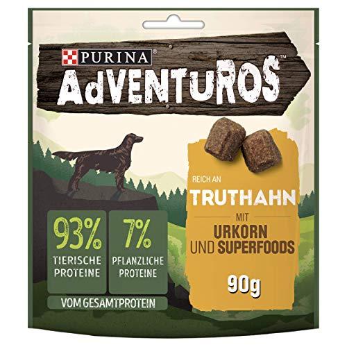 PURINA AdVENTuROS Hundeleckerli proteinreich, Hundesnack mit Truthahn, Urkorn und Superfoods, 6er Pack (6 x 90g)