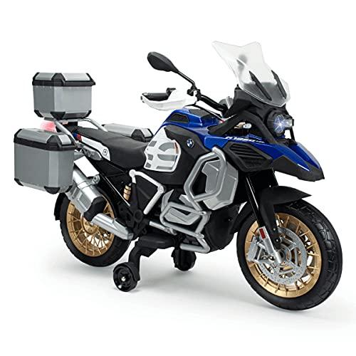 INJUSA - Moto Eléctrica BMW R1250 GS Adventure 12V Azul con Maletas Traseras, Puño Acelerador, MP3 y Ruedas Estabilizadoras Recomendada para Niños +3 Años