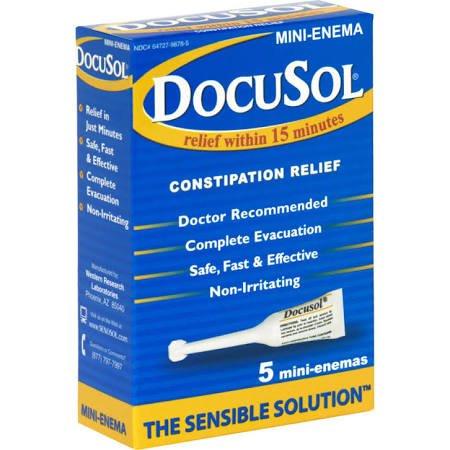 Docusol Constipation Relief, Mini Enemas, Assorted, 5 Count