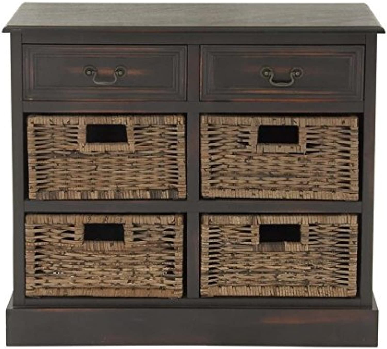 Deco 79 96253 Wood 4 Basket Dresser, 30  x 28